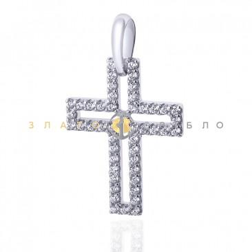 Серебряный подвес в виде креста с фианитами