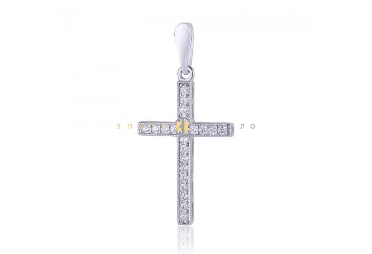 Срібний підвіс у вигляді хреста з фіанітами