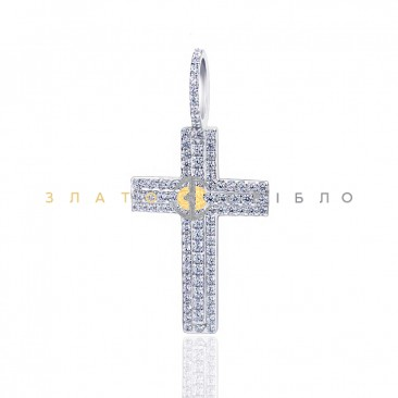 Серебряный крест с фианитами