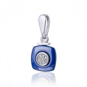 Серебряный подвес «Сапфир» с синей керамикой