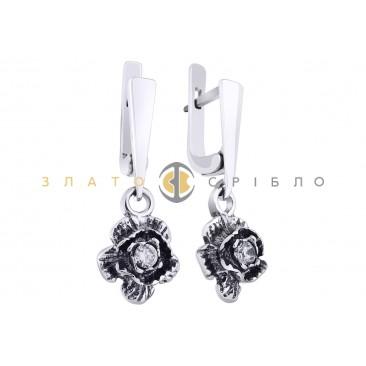 Срібні сережки «Троянда»