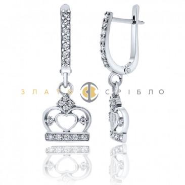 Серебряные серьги «Коронация»
