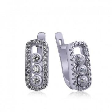 Серебряные серьги «Танец фианитов»