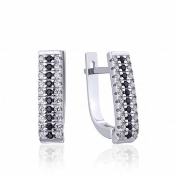 Серебряные серьги «Настроение» с фианитами