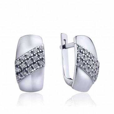 Серебряные серьги «В плену у моды» с фианитами
