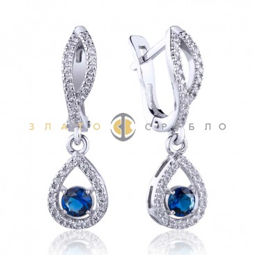 Срібні сережки «Крапля синього моря»