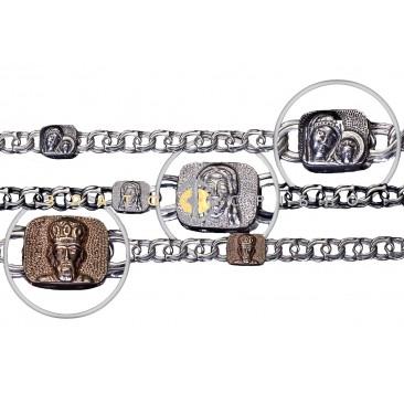 Срібний браслет ручної роботи  «Московський бісмарк з ліками святих»