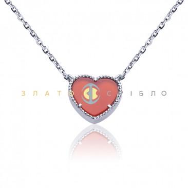 Серебряное колье «Яркое сердце»