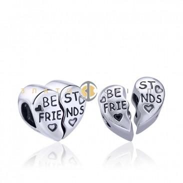 Серебряный шарм «Best friends»