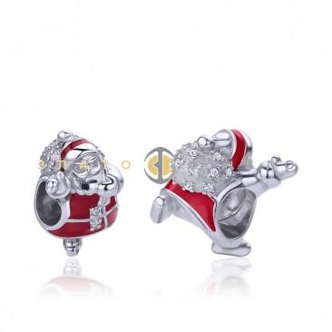 Серебряный шарм «Веселый Санта»