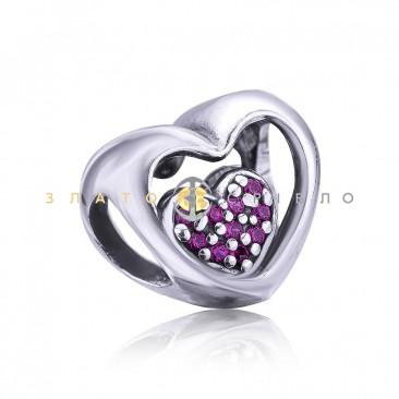 Серебряный шарм «Тайна двух сердец»