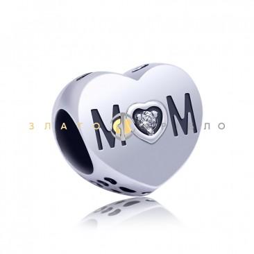 Серебряный шарм «Сердце Mom»