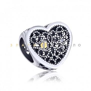 Серебряный шарм «Нежное сердце»