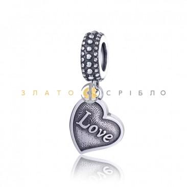 Серебряный шарм «Love»