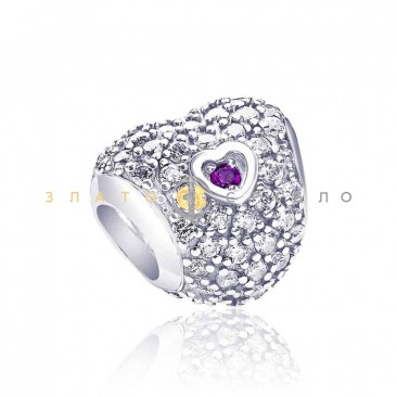 Серебряный шарм «Сердце принцессы»