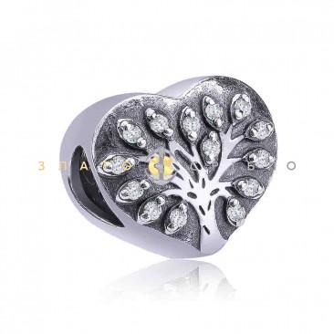 Серебряный шарм «Хрустальное сердце»