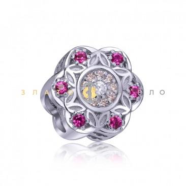 Серебряный шарм «Восточный цветок»