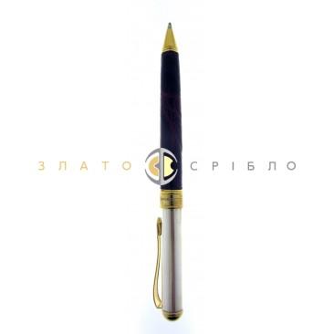 Кулькова срібна ручка «Cesare Emiliano» в бордовою шкірі (тонка)