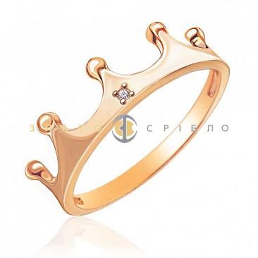 Золотое кольцо «Леди Ди» с бриллиантом