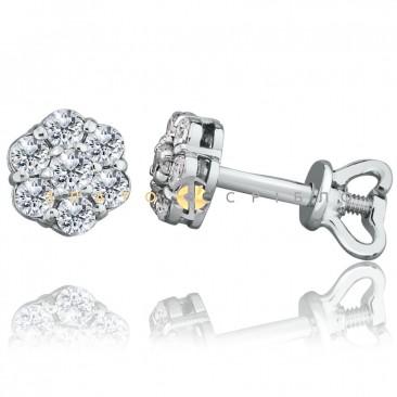 """Золоті пусети """"Квітонька"""" з діамантами в білому золоті"""