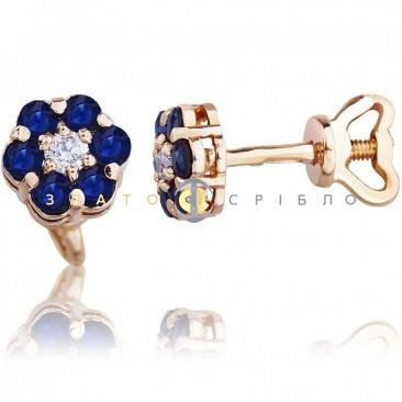 Золоті пусети «Квітонька» з діамантами і сапфірами