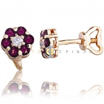 Золотые пуссеты «Цветочек»  с бриллиантами и рубинами