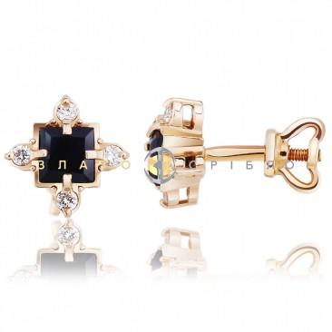 """Золоті пусети """"Стелла"""" з сапфірами і діамантами"""