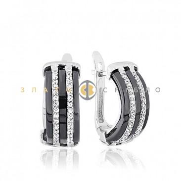 Срібні сережки «Оріон» з чорною керамікою c12d79b97cf28