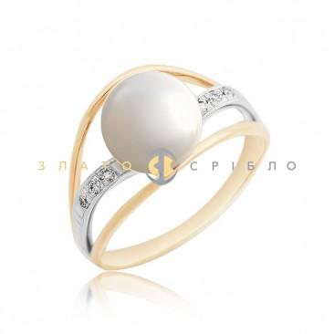 Золотое кольцо «Акоя» с жемчугом и бриллиантом