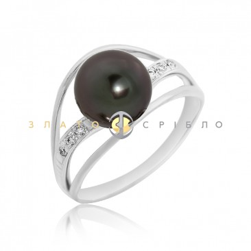 Золота обручка «Чорна перлина» з діамантами