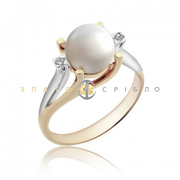 Золота каблучка «Білий лебідь» з перлиною та діамантами