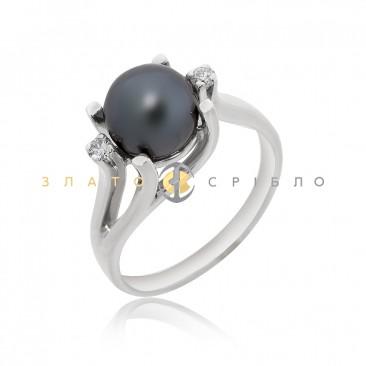 Золота каблучка «Чорна пантера» з перлиною та діамантами