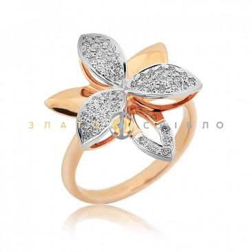 Золота каблучка «Розкішний блиск» з діамантами