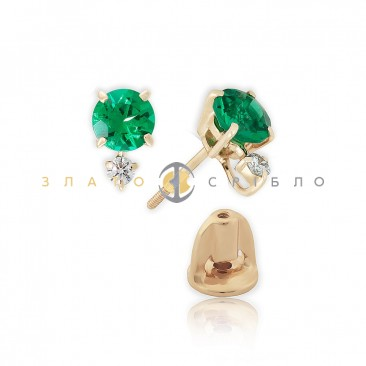 Золотые пуссеты «Поэтичный самоцвет» с бриллиантами и изумрудами
