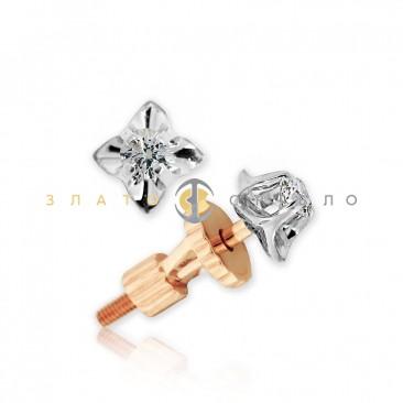Золотые пуссеты «Нежное утро» с бриллиантами