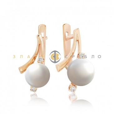 Золоті сережки «Pearl» з перлами і діамантами