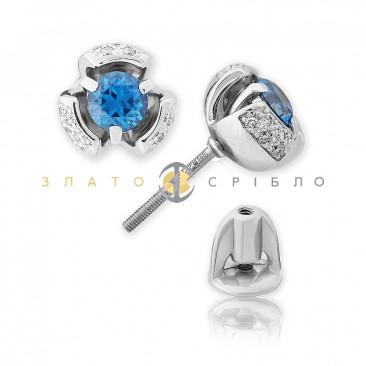 Золотые пуссеты «Blue water» с топазами и бриллиантами