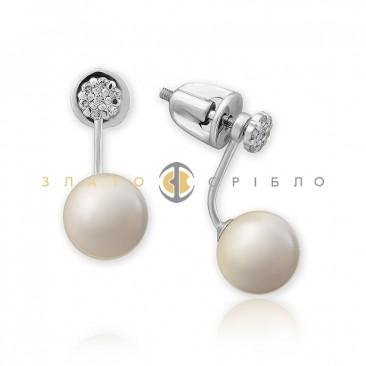 Золотые пуссеты «Симфония» с жемчугом и бриллиантами