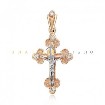 Золотой крестик «Спаси и сохрани» с бриллиантами