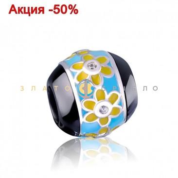 Серебряный шарм «Краски лета» с черной керамикой