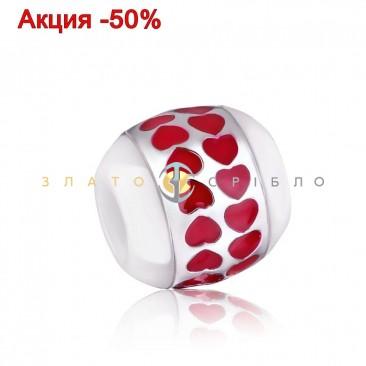 Серебряный шарм «Love» с белой керамикой