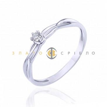 Кольцо в белом золоте «Ализе» с бриллиантом