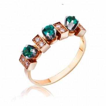 Золотое кольцо «Эсмеральда» с гидротермальным изумрудом и фианитами