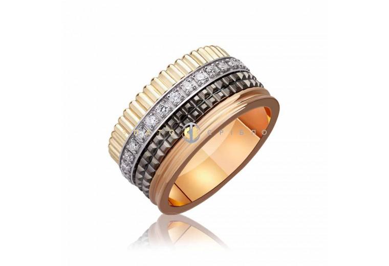 Обручальное золотое кольцо «Boucheron Quatre Diamond style»