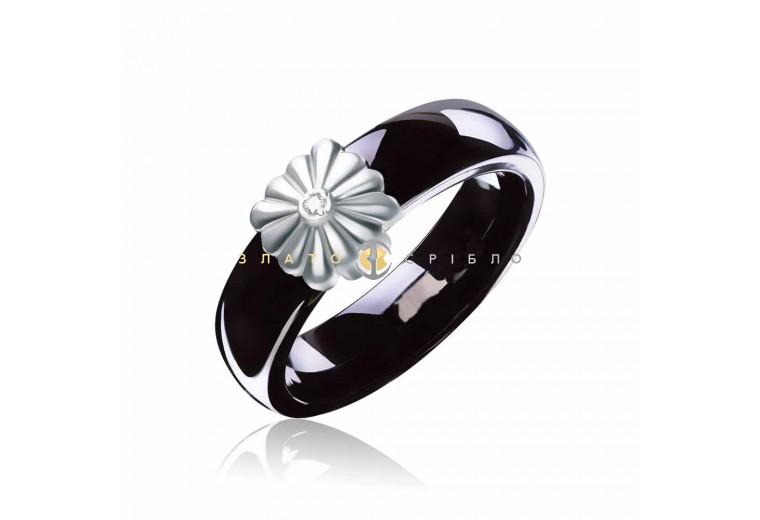 Керамічна каблучка «Вінтаж Black» з діамантом та накладкою з білого золота