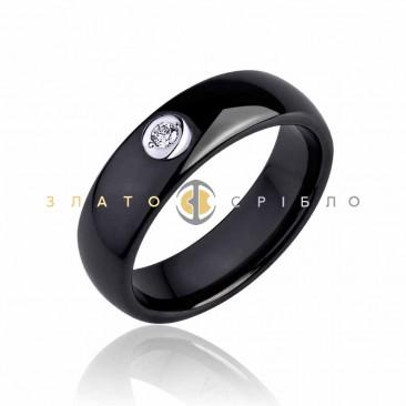 Керамічна каблучка «Черный лебедь» з діамантом та накладкою з білого золота