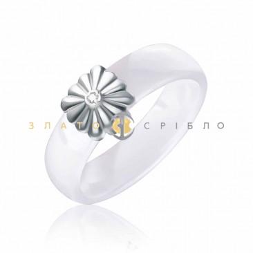 Керамічна каблучка «Вінтаж White » з діамантом та накладкою з білого золота