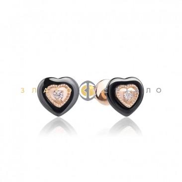 Золотые пуссеты «Искушение» с черной керамикой и бриллиантами
