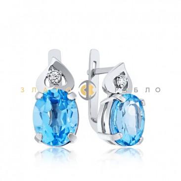 Серебряные серьги с голубыми фианитами