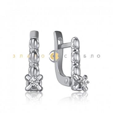 Серебряные серьги с белыми фианитами